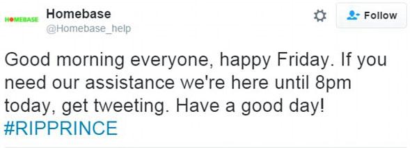 Homebase #RIPPRINCE Tweet